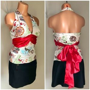 Arden B Asian Print Halter Top Big Red Bow Tie S